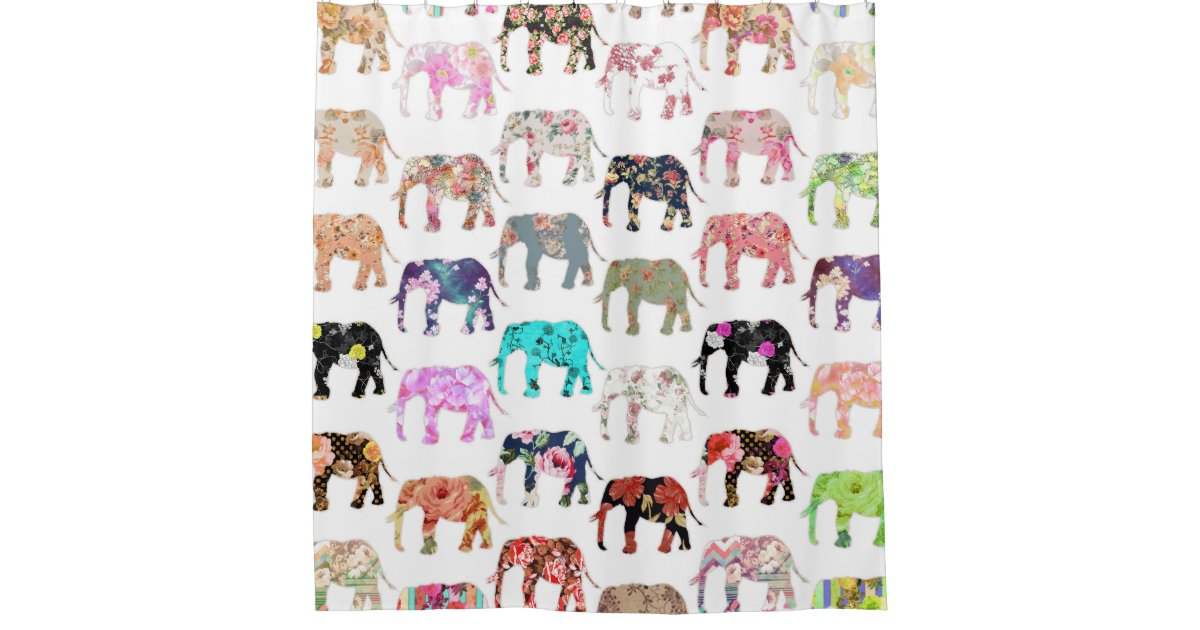 Girly Whimsical Retro Floral Elephants Pattern Shower Curtain Zazzle