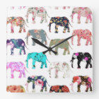 Girly Whimsical Retro Floral Elephants Pattern Square Wall Clock
