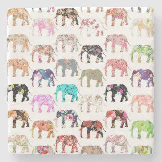 Girly Whimsical Retro Floral Elephants Pattern Stone Beverage Coaster