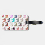 Girly Whimsical Retro Floral Elephants Pattern Tag For Luggage