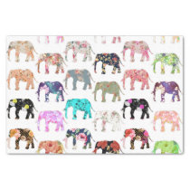 Girly Whimsical Retro Floral Elephants Pattern Tissue Paper