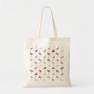 Girly Whimsical Retro Floral Flamingos Pattern Budget Tote Bag