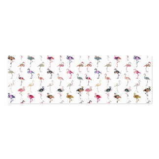Girly Whimsical Retro Floral Flamingos Pattern Double-Sided Mini Business Cards (Pack Of 20)