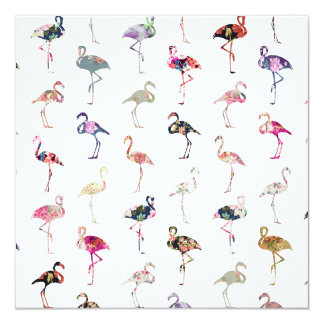 Girly Whimsical Retro Floral Flamingos Pattern Card