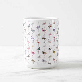 Girly Whimsical Retro Floral Flamingos Pattern Coffee Mug