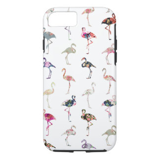 Girly Whimsical Retro Floral Flamingos Pattern iPhone 7 Case