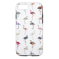 Girly Whimsical Retro Floral Flamingos Pattern iPhone 8/7 Case