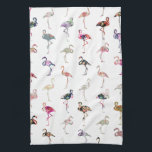 "Girly Whimsical Retro Floral Flamingos Pattern Kitchen Towel<br><div class=""desc"">Girly Whimsical Retro Floral Tropical Flamingos Pattern. A vintage and retro girly floral pattern design with whimsical and cute exotic flamingos birds , with pink, blue, red, yellow, teal blue, black, purple, gray, white, turquoise blue, navy blue pastel colors, lots of different floral colorful retro design with roses, lilies, tulips,...</div>"
