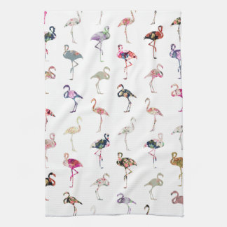 Girly Whimsical Retro Floral Flamingos Pattern Kitchen Towel