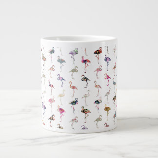 Girly Whimsical Retro Floral Flamingos Pattern Large Coffee Mug