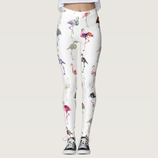 Girly Whimsical Retro Floral Flamingos Pattern Leggings