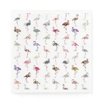 Girly Whimsical Retro Floral Flamingos Pattern Paper Napkin