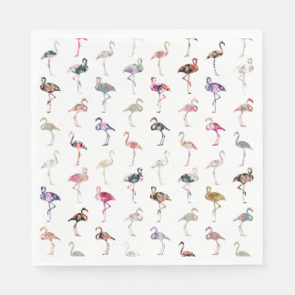 Girly Whimsical Retro Floral Flamingos Pattern Paper Napkin