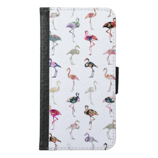 Girly Whimsical Retro Floral Flamingos Pattern Samsung Galaxy S6 Wallet Case