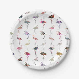 Girly Whimsical Retro Floral Flamingos Pattern 7 Inch Paper Plate