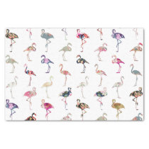 Girly Whimsical Retro Floral Flamingos Pattern Tissue Paper