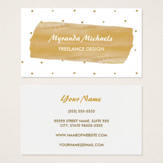 Girly White and Gold Polka Dots Washi Tape Design Business Card