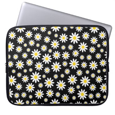 Beach Themed Girly White Daisy Watercolor Floral Pattern Black Laptop Sleeve