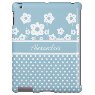 Girly White Flowers and Polka Dots on Light Blue