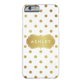 Girly White Gold Polka Dots Pattern Monogram Barely There iPhone 6 Case