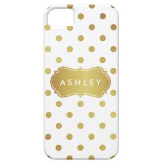 Girly White Gold Polka Dots Pattern Monogram iPhone 5 Case