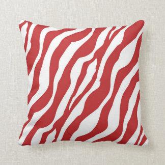 Girly Wild Red Zebra Print Throw Pillow