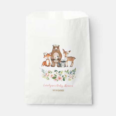 Girly Woodland Forest Animals / Blush Pink Floral Favor Bag