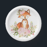 """Girly Woodland Fox Pink Floral Forest Baby Shower Paper Plate<br><div class=""""desc"""">Feminine woodland themed disposable party plate featuring pastel pink & blush watercolor peonies and a cute baby fox</div>"""