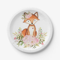 Girly Woodland Fox Pink Floral Forest Baby Shower Paper Plate