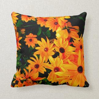 Girly yellow and orange flower throw pillow