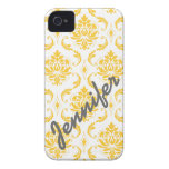 Girly, Yellow Damask with Name iPhone 4 Case