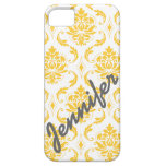 Girly, Yellow Damask with Name iPhone 5 Case