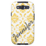 Girly, Yellow Damask with Name Samsung Case Galaxy S3 Case