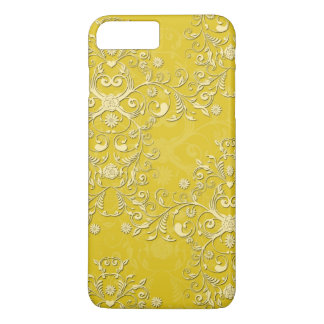 Girly Yellow Floral Damask iPhone 7 case