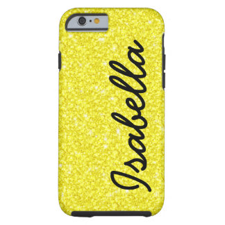 GIRLY YELLOW GLITTER PRINTED PERSONALIZED TOUGH iPhone 6 CASE