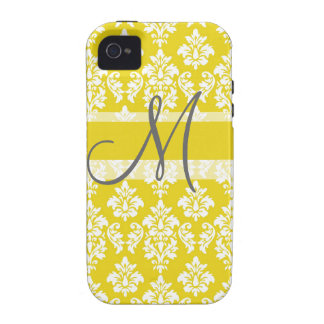 Girly Yellow White Damask Monogrammed iPhone 4 Case