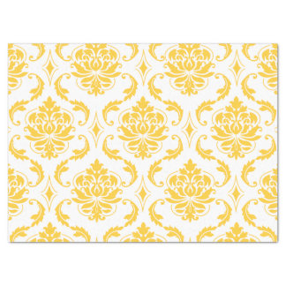 "Girly Yellow White Vintage Damask Pattern 17"" X 23"" Tissue Paper"