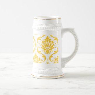 Girly Yellow White Vintage Damask Pattern Beer Stein