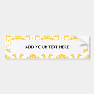 Girly Yellow White Vintage Damask Pattern Car Bumper Sticker