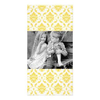 Girly Yellow White Vintage Damask Pattern Card