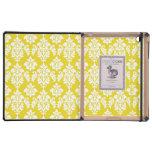 Girly Yellow White Vintage Damask Pattern Case For iPad