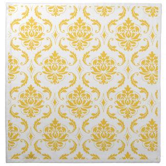 Girly Yellow White Vintage Damask Pattern Cloth Napkins