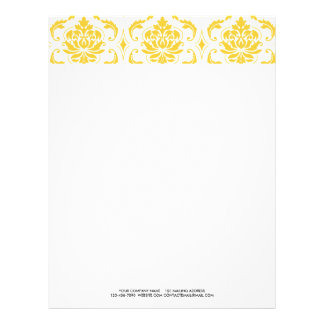 Girly Yellow White Vintage Damask Pattern Letterhead Design