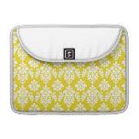 Girly Yellow White Vintage Damask Pattern Sleeve For MacBooks