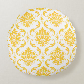 Girly Yellow White Vintage Damask Pattern Round Pillow