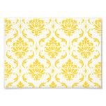 Girly Yellow White Vintage Damask Pattern Photo Print