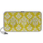 Girly Yellow White Vintage Damask Pattern iPhone Speaker