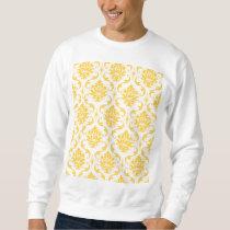 Girly Yellow White Vintage Damask Pattern Sweatshirt