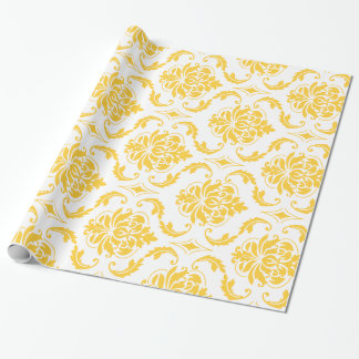 Girly Yellow White Vintage Damask Pattern Wrapping Paper