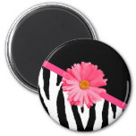 Girly Zebra Pattern Cute Pink Daisy With Name 2 Inch Round Magnet